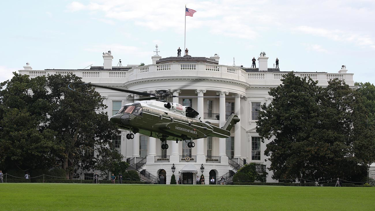 A VH-92A helicopter conducts landing and take-off testing at the White House South Lawn in September 2018.