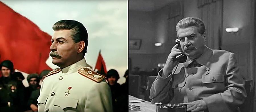 A sinistra, l'attore georgiano e sovietico Mikheil Gelovani nel ruolo di Joseph Stalin nel film