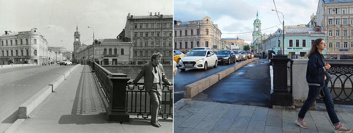 À gauche : vue sur la rue Piatnitskaïa depuis le pont Tchougounny en 1972. À droite : en 2020.