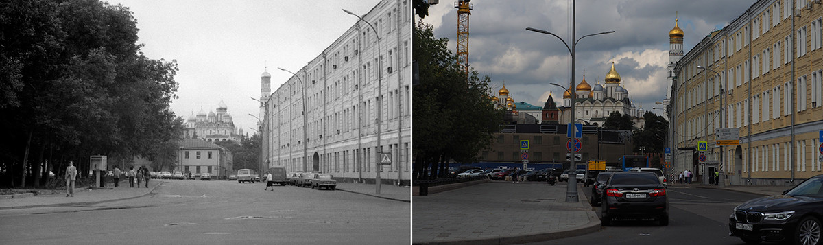 À gauche : vue sur la place Bolotnaïa, en 1991. À droite : en 2020.