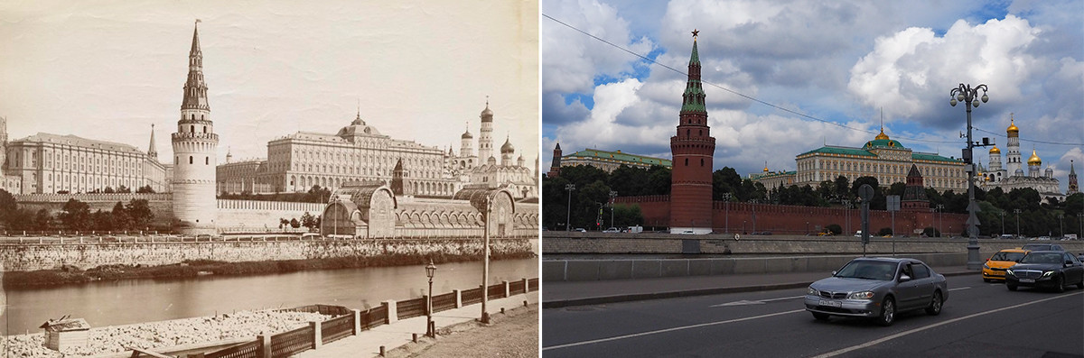 À gauche : vue sur le kremlin depuis du quai de Sofia (entre 1878 et 1883). À droite : en 2020.
