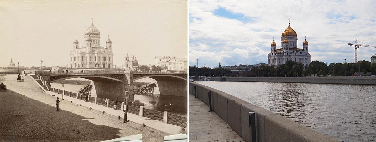À gauche : cathédrale du Christ-Sauveur dans les années 1880. À droite : en 2020 (la cathédrale a depuis été détruite puis reconstruite).