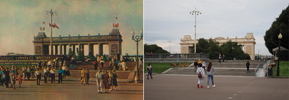 À gauche : entrée du parc Gorki en 1955. À droite : en 2020.