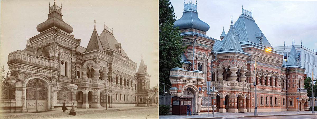 À gauche : maison Igoumnov en 1893. À droite : en 2020, il s'agit aujourd'hui de la résidence de l'ambassade de France.