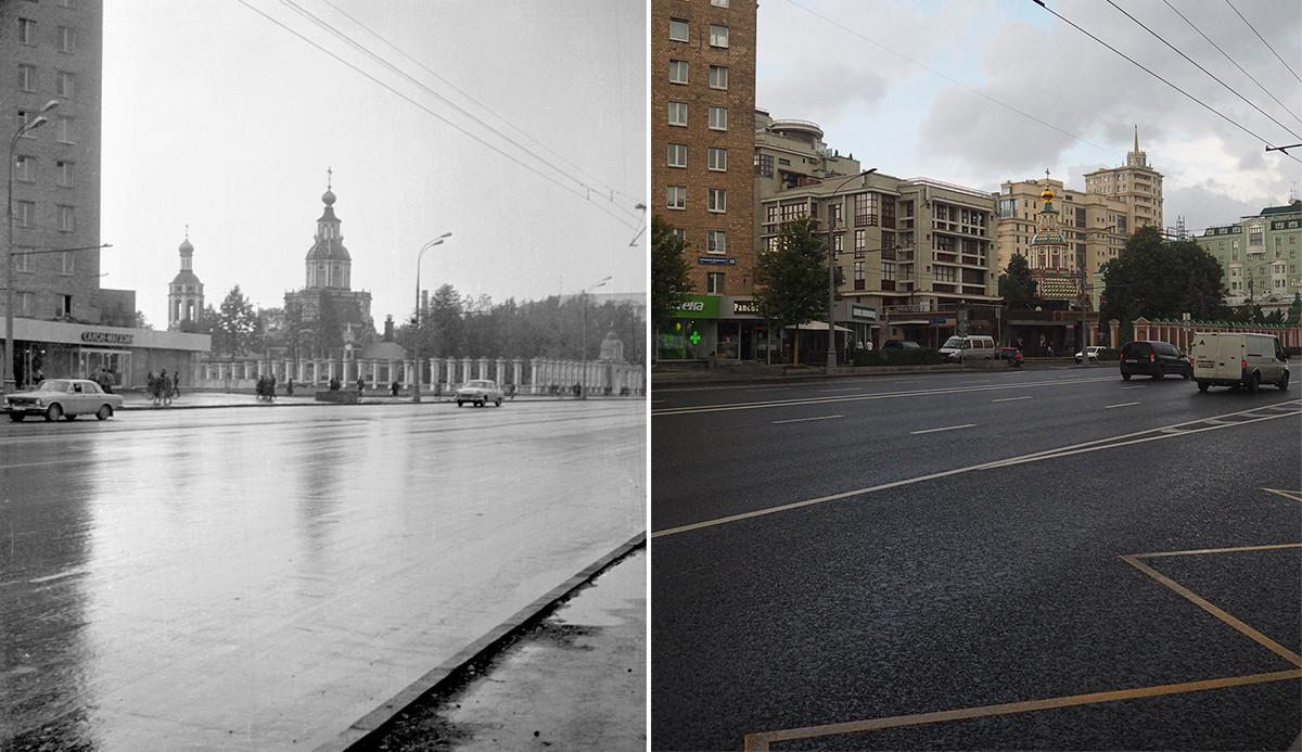 À gauche : église Saint-Jean-le-Guerrier dans les années 1980. À droite : en 2020.