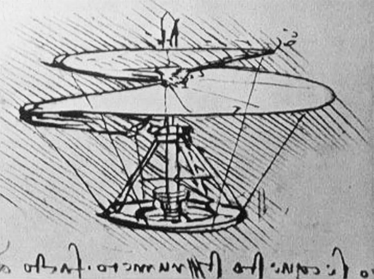 El prototipo de helicóptero de Leonardo da Vinci.