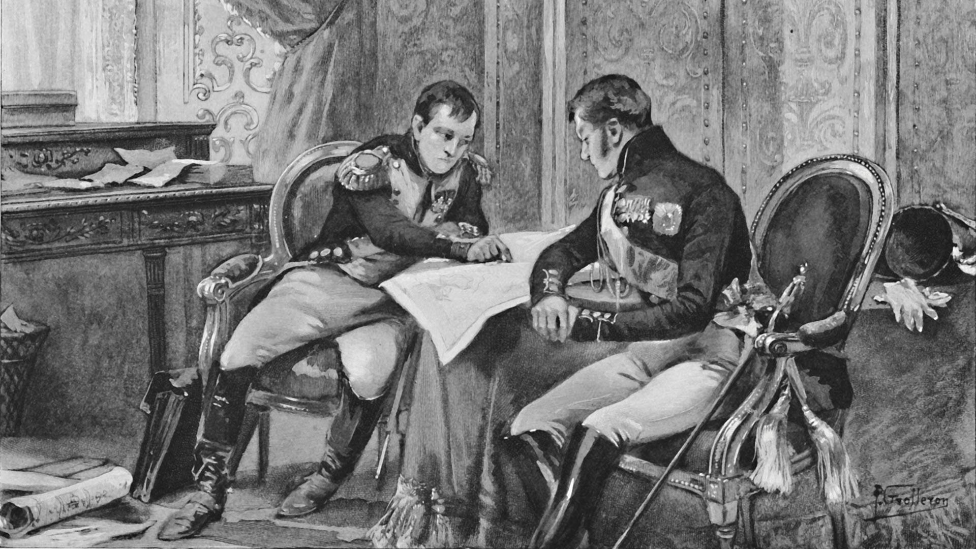 Napoléon et Alexandre Ier à Tilsit, étudiant la carte d'Europe