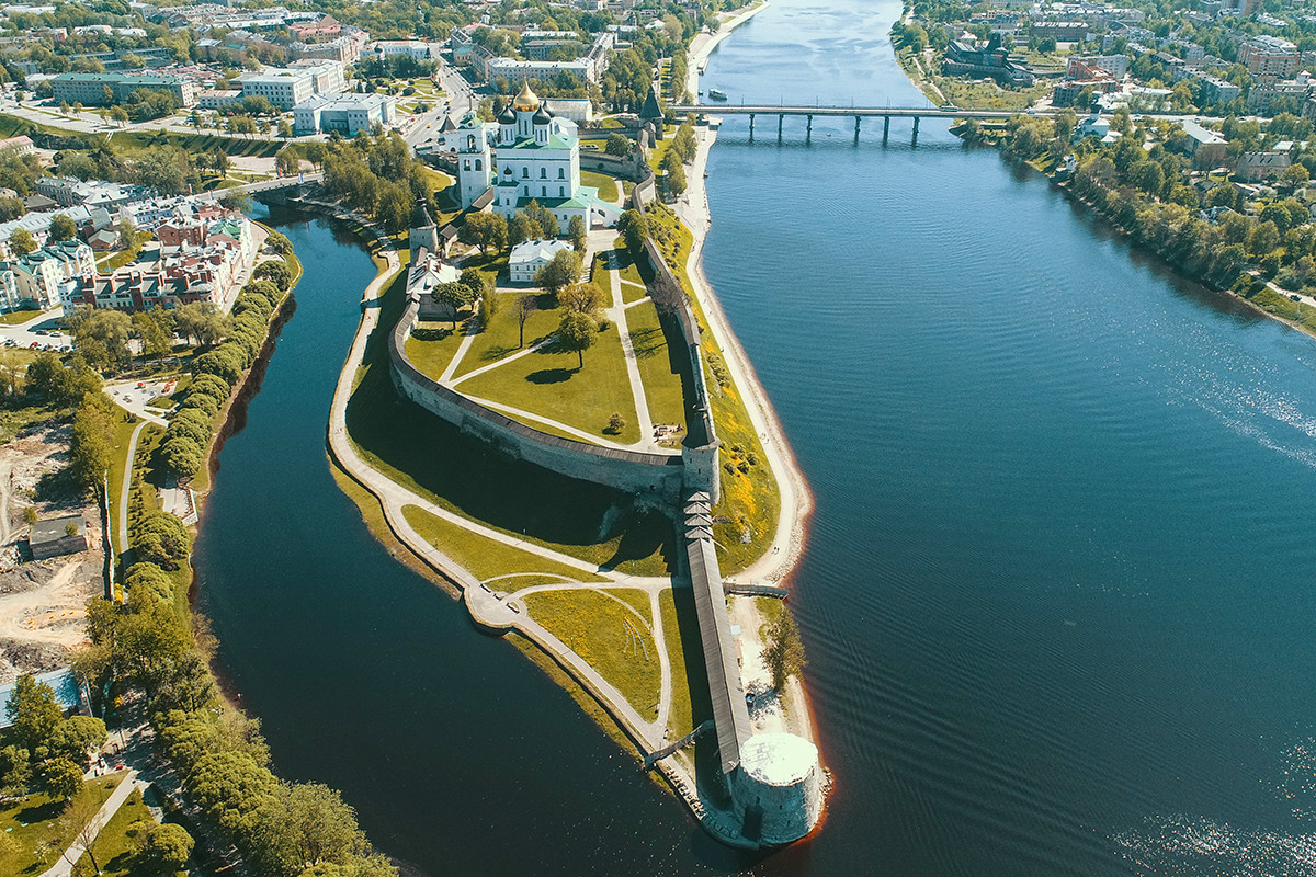 Aerial view on Pskov kremlin