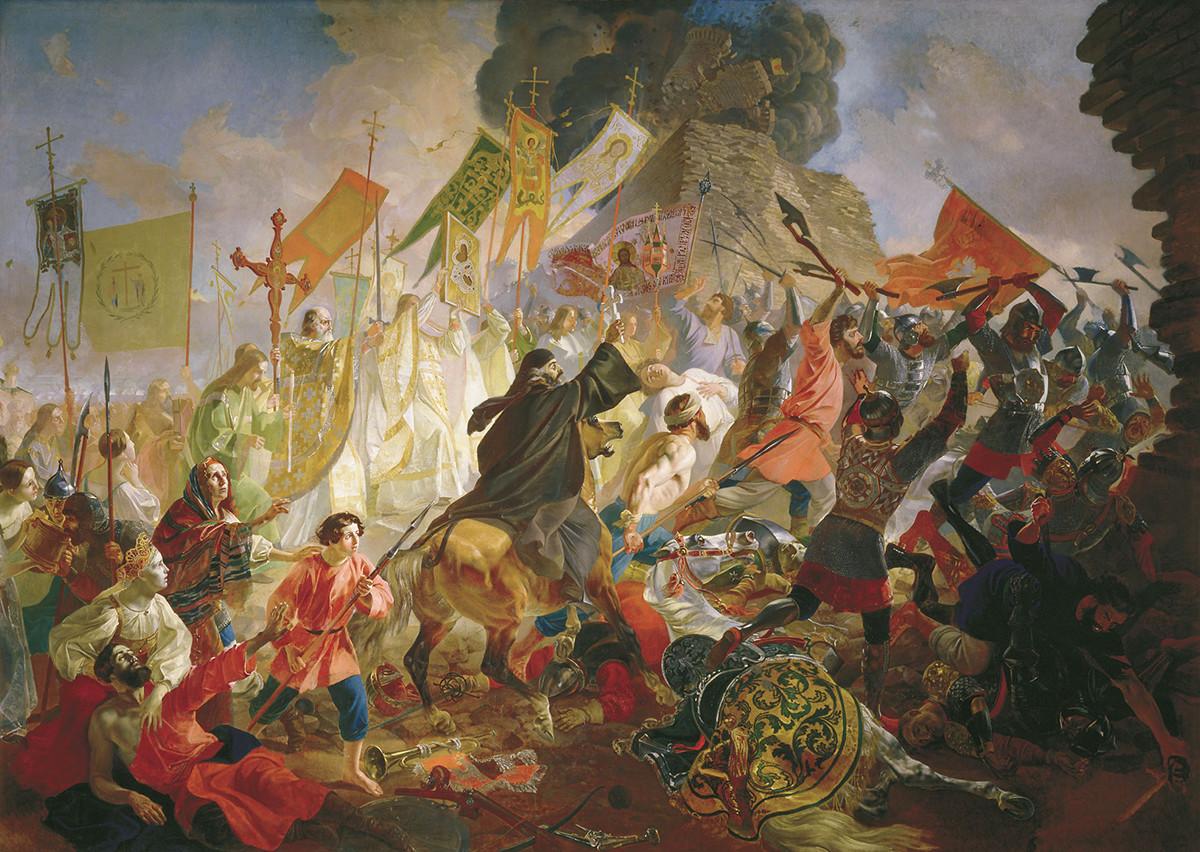 『ステファン・バートリ (ポーランド王)に包囲されているプスコフ』、カール・ブリューロフ作