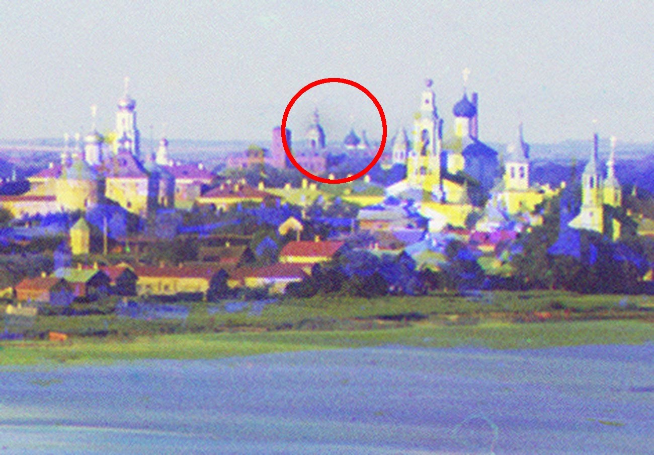 Fragment of Rostov panorama taken from bell tower of the Savior St. Yakov Monastery. St. Avraamy Epiphany Monastery visible in center background. Summer 1911