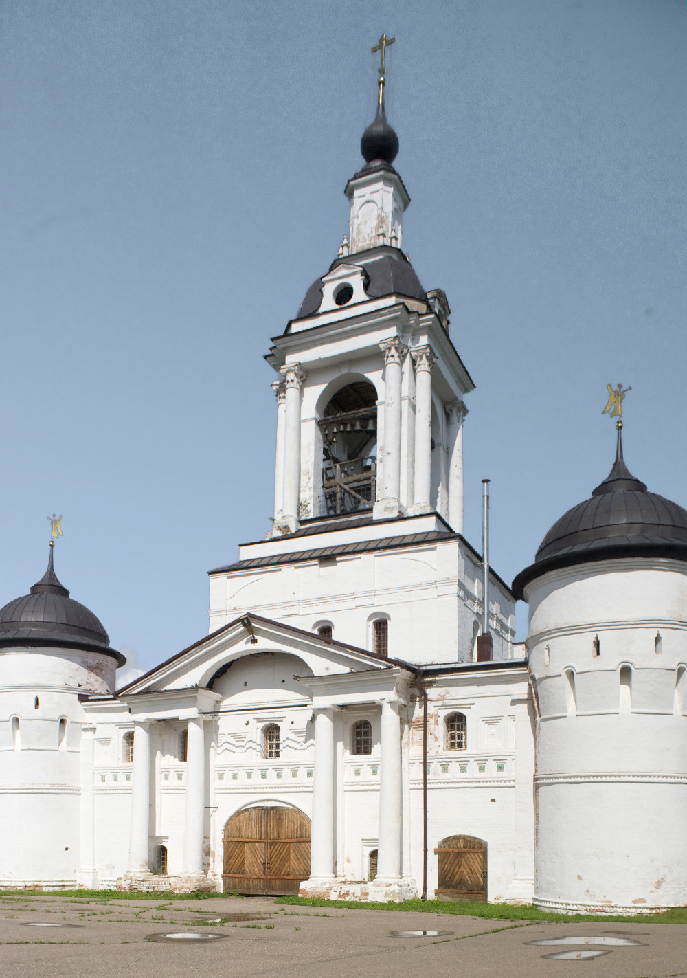 St. Avraamy Epiphany Monastery. Church of St. Nicholas over Holy Gate, west view. July 6, 2019