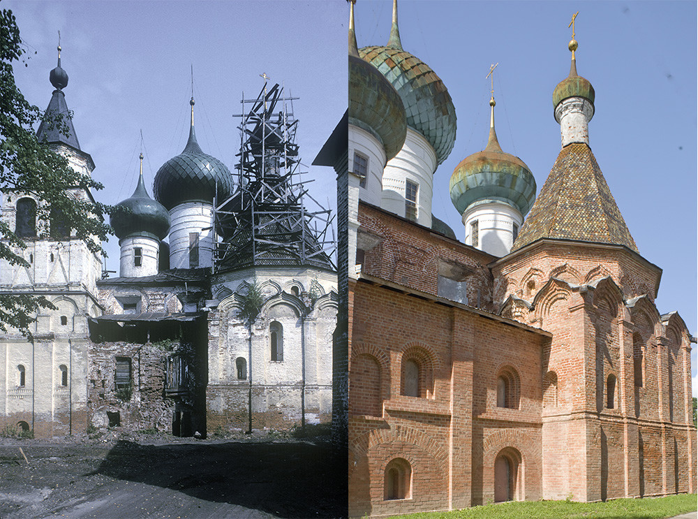 St. Avraamy Epiphany Monastery. Cathedral of the Epiphany, south view with attached Chapel of St. Avraamy. On the left: before restoration, July 29, 1997, on the right: after restoration, July 6, 2019