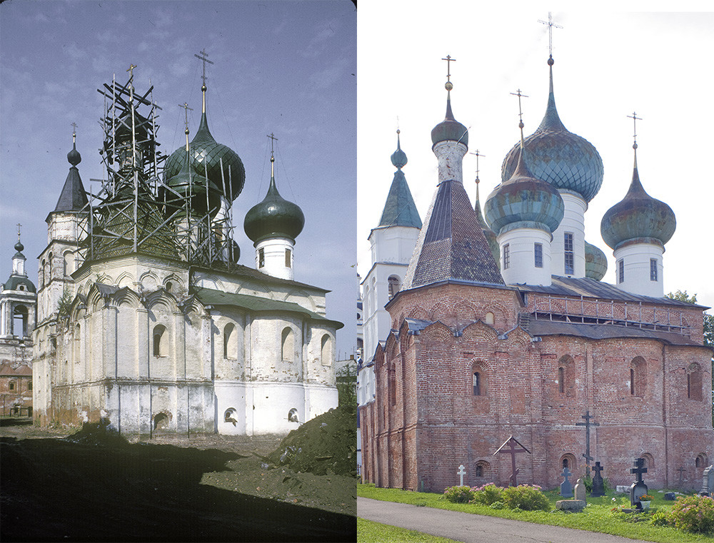 St. Avraamy Epiphany Monastery. Cathedral of the Epiphany with attached Chapel of St. Avraamy. On the left: southeast view before restoration, July 29, 1997; on the right: east view after restoration, July 6, 2019