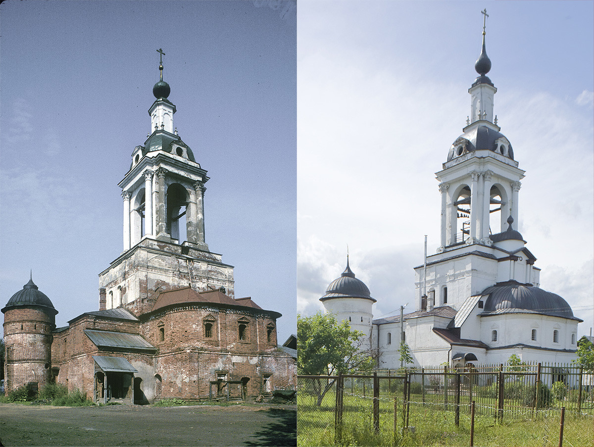 St. Avraamy Epiphany Monastery. Church of St. Nicholas over Holy Gate, southeast view. On the left: before restoration, July 29, 1997; on the right: after restoration, July 6, 2019
