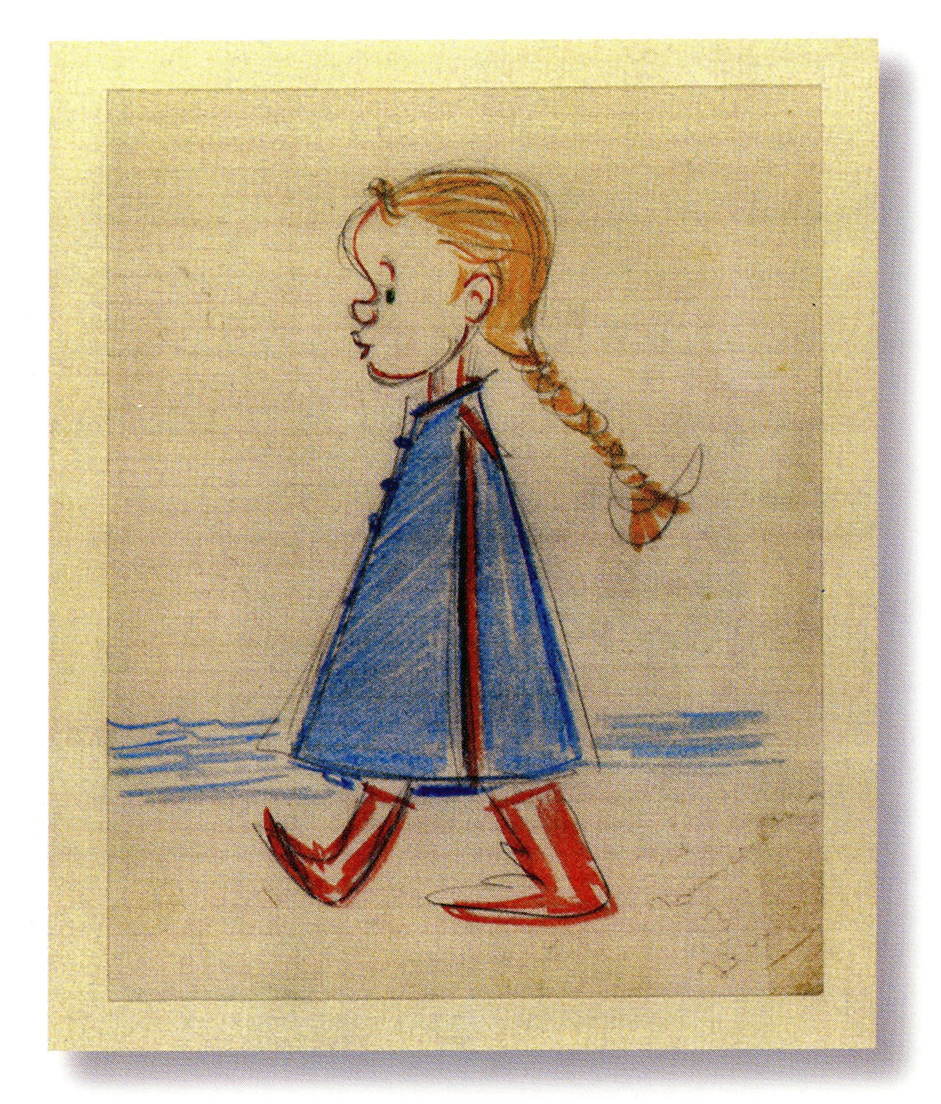"""Il disegno """"La Fellinette"""" realizzato da Fellini per la nipote Francesca, fonte d'ispirazione per l'omonimo cortometraggio a tecnica mista"""