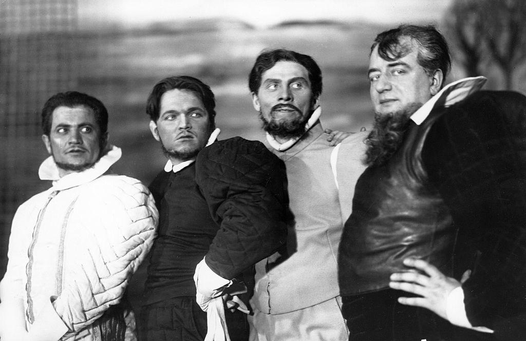 L-R: Alexander Granach, Veit Harlan, Willi Witte, and Aribert Wäscher in the play 'Love's Labour's Lost' (Konzerthaus Berlin, 1930)