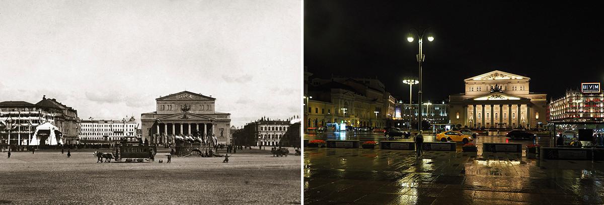 Praça Teatrálnaia durante a coroação de Nikolai 2°: maio de 1896 x 2020.