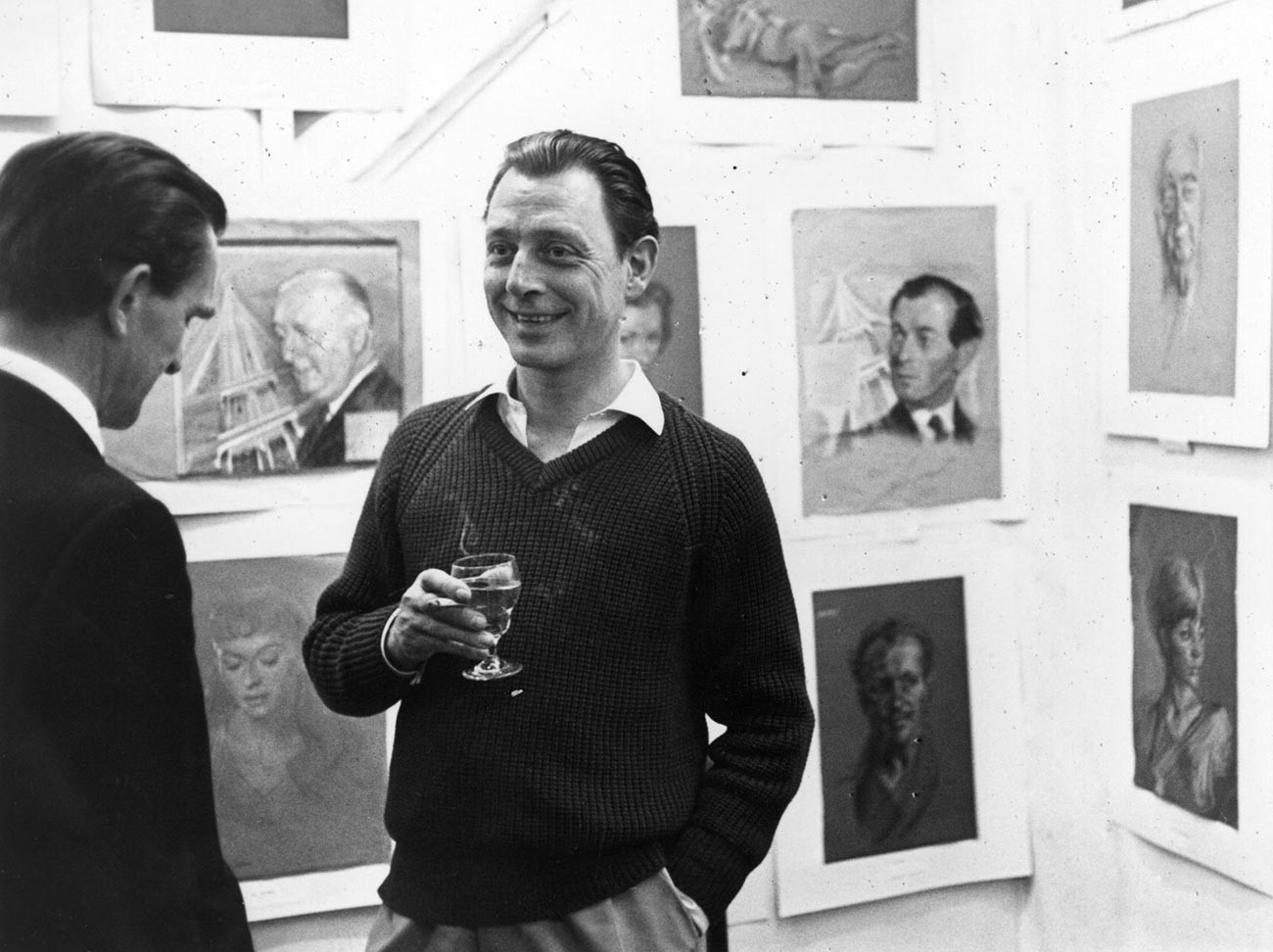 Dr Stephen Ward, the society osteopath involved in the Profumo Affair, at an art gallery.