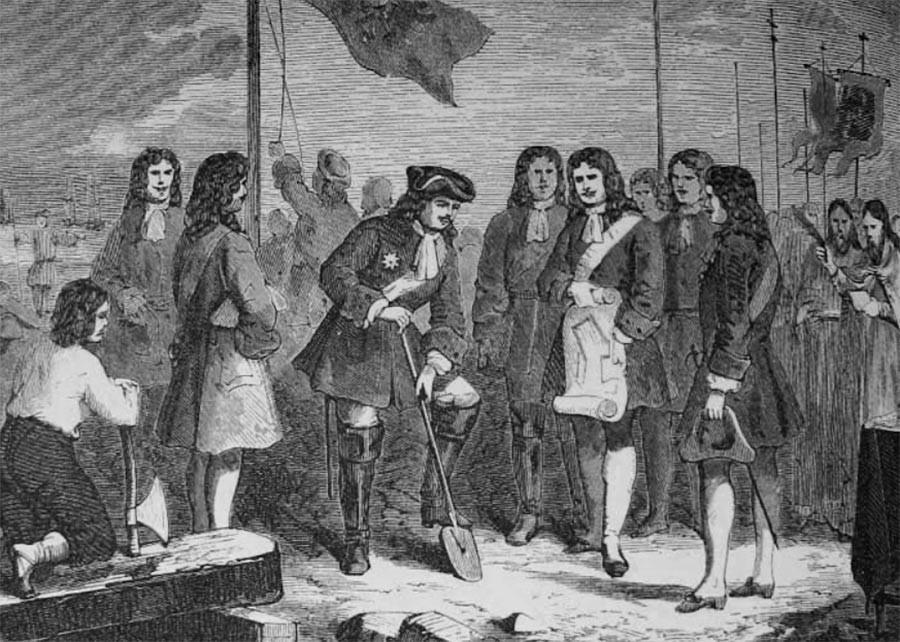 Début solennel de la construction de la forteresse de Saint-Pétersbourg par Pierre