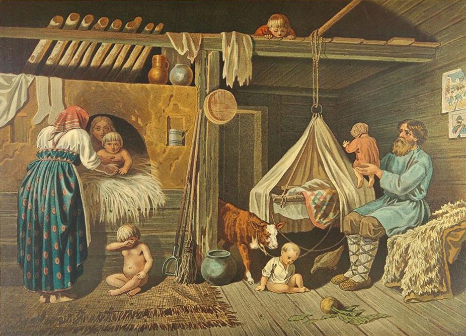 Contadini nella loro casa in un giorno d'inverno