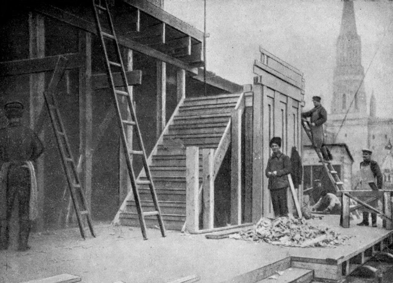 The mausoleum under construction