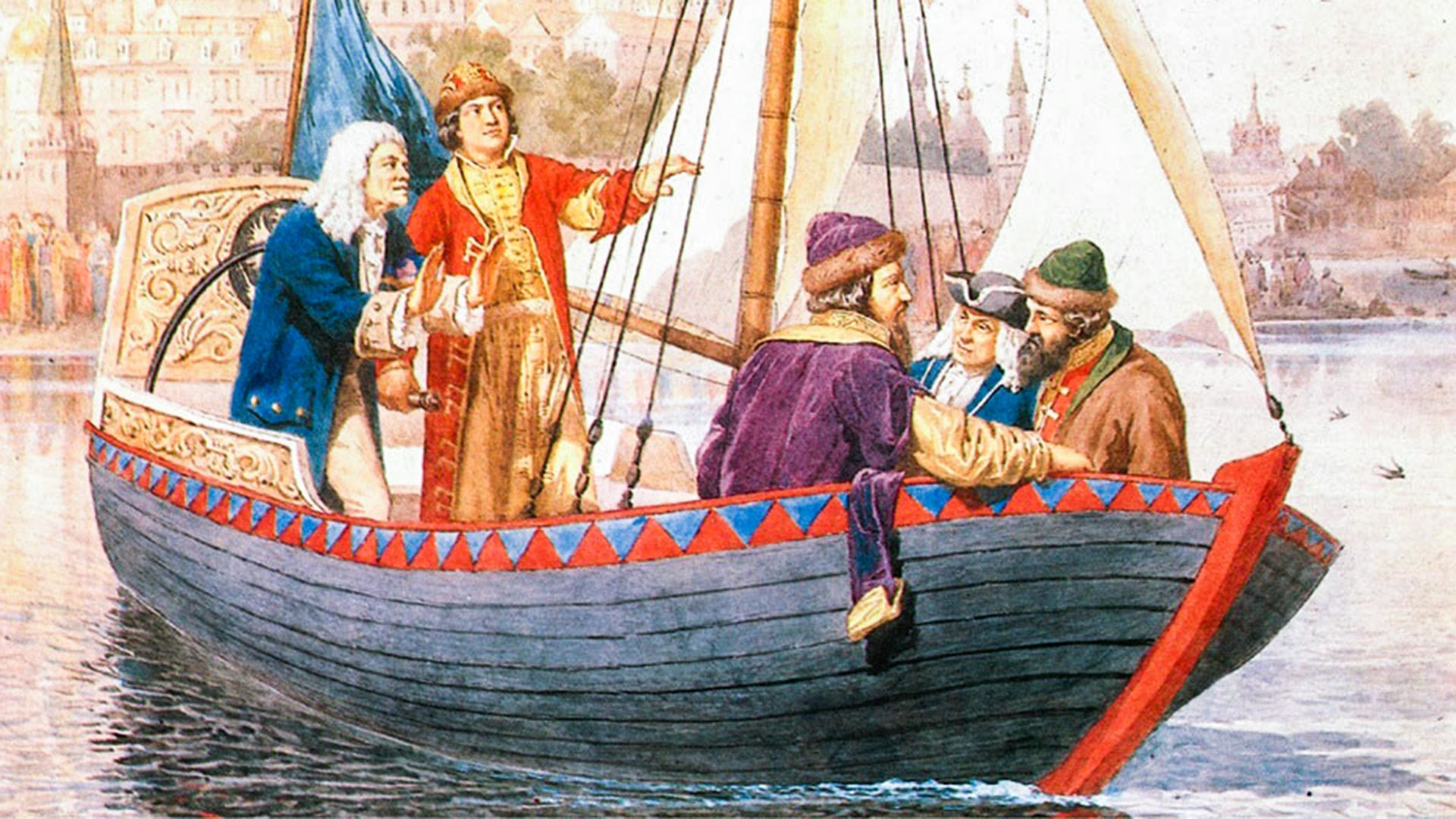 ピョートル大帝は小型船舶を操縦している。