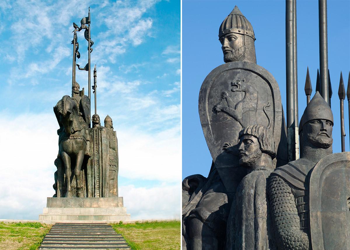 Ein Denkmal für Alexander Newski und die Schlacht auf dem Eise