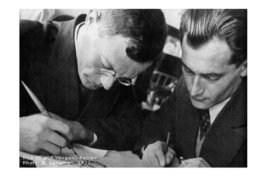 Ilf and Petrov while writing, 1932