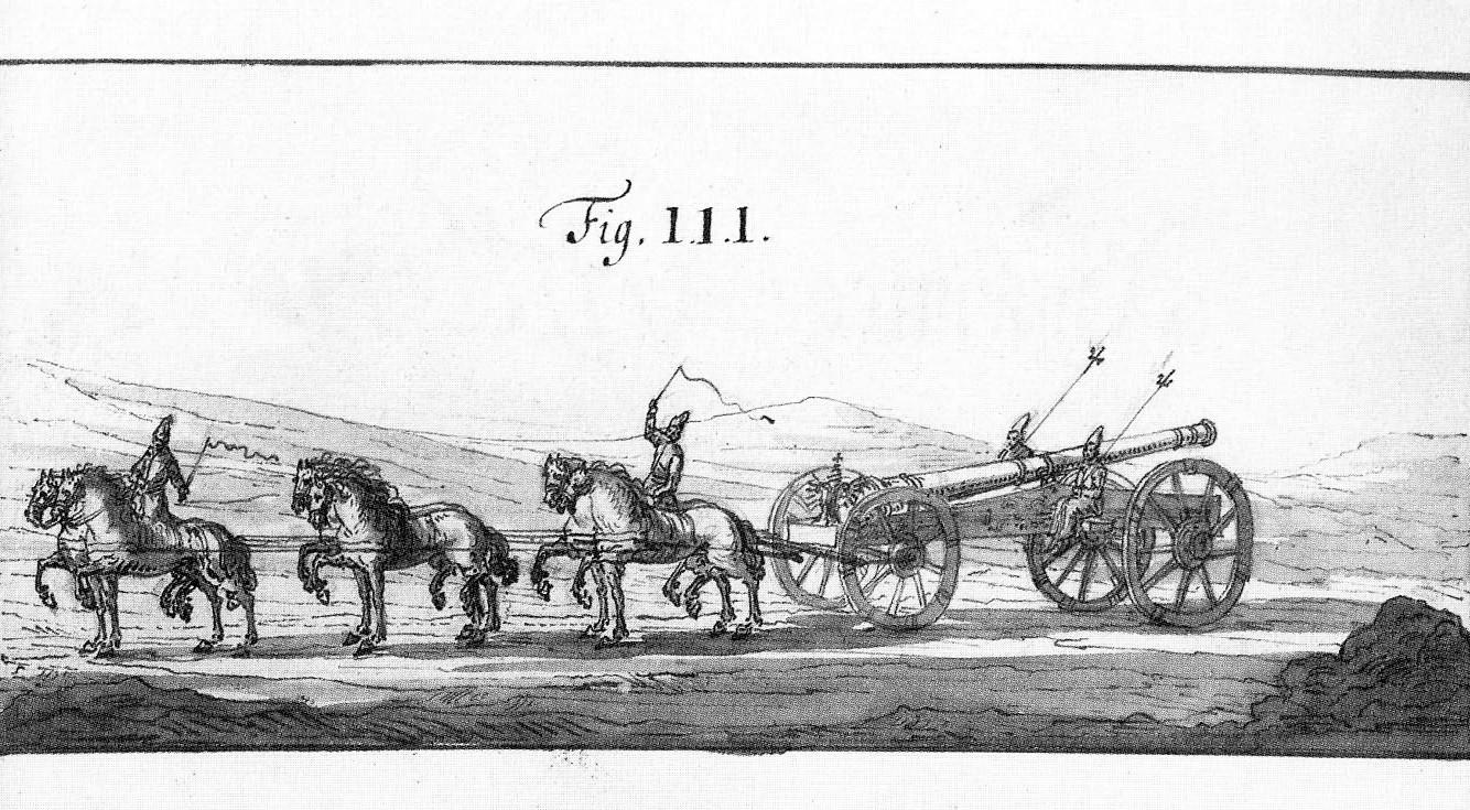 Gravura do século 17 mostrando o transporte de um canhão de campanha russo.