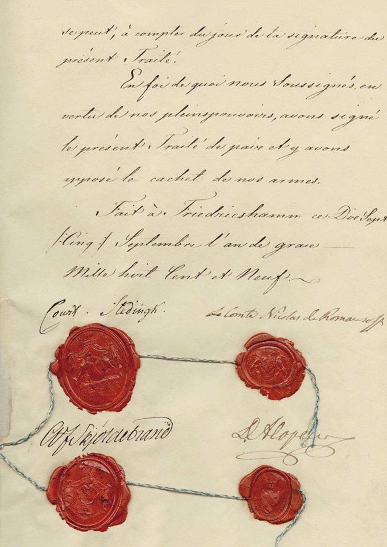 El Tratado de Fredrikshamn.