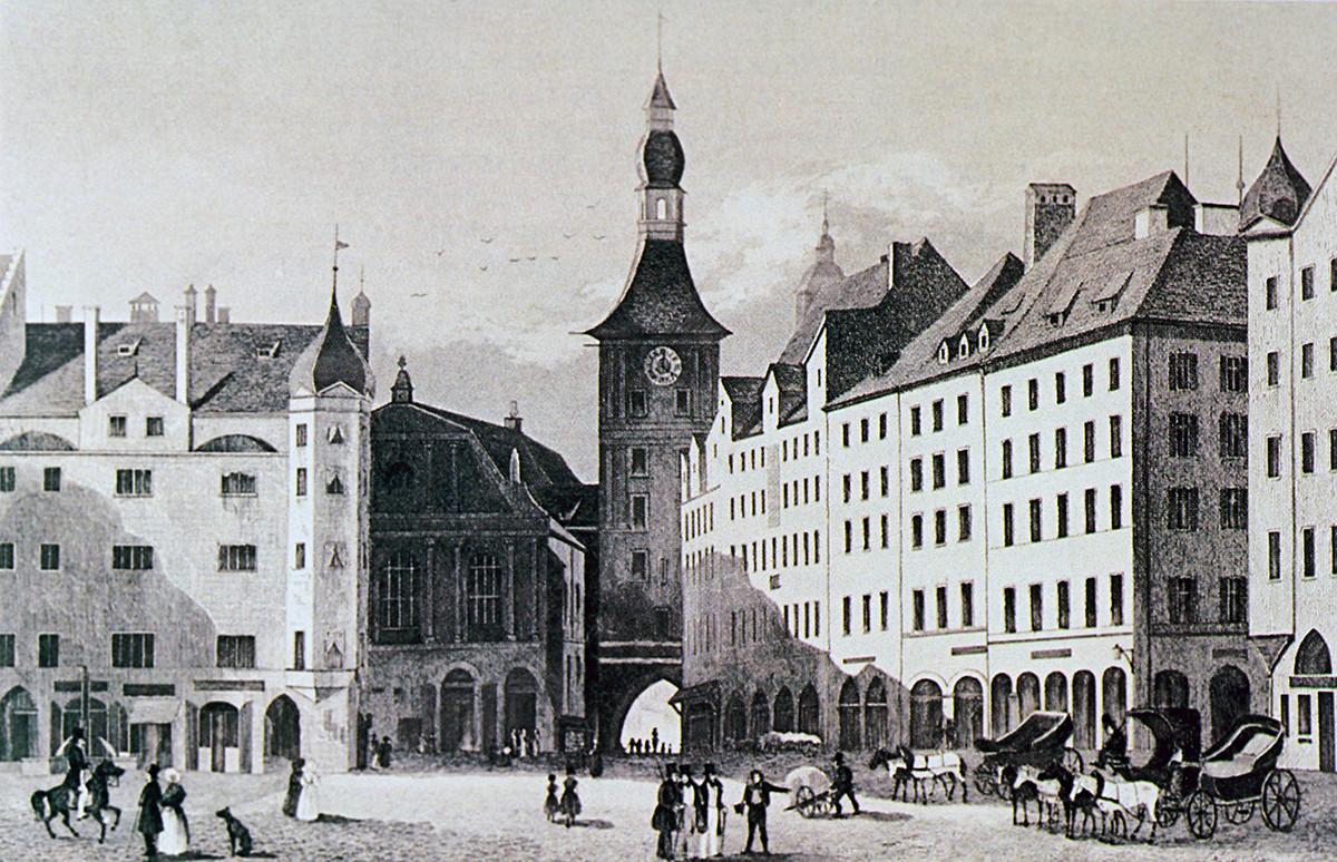 Il municipio di Monaco, 1840 (K. Gerstner da un originale di J. Hoffmeister). Dalla collezione del museo-tenuta