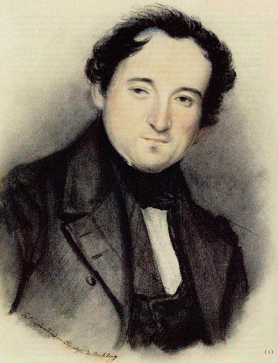 Fjodor Tjutchev, acquarello, I. Rechberg, 1838