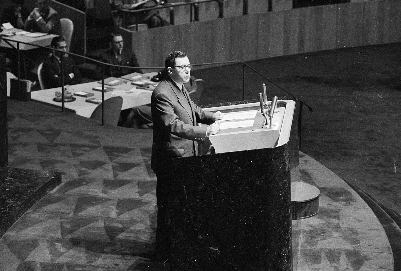 Russian Foreign Minister Andrei Gromyko addresses a meeting of the United Nations General Assembly.