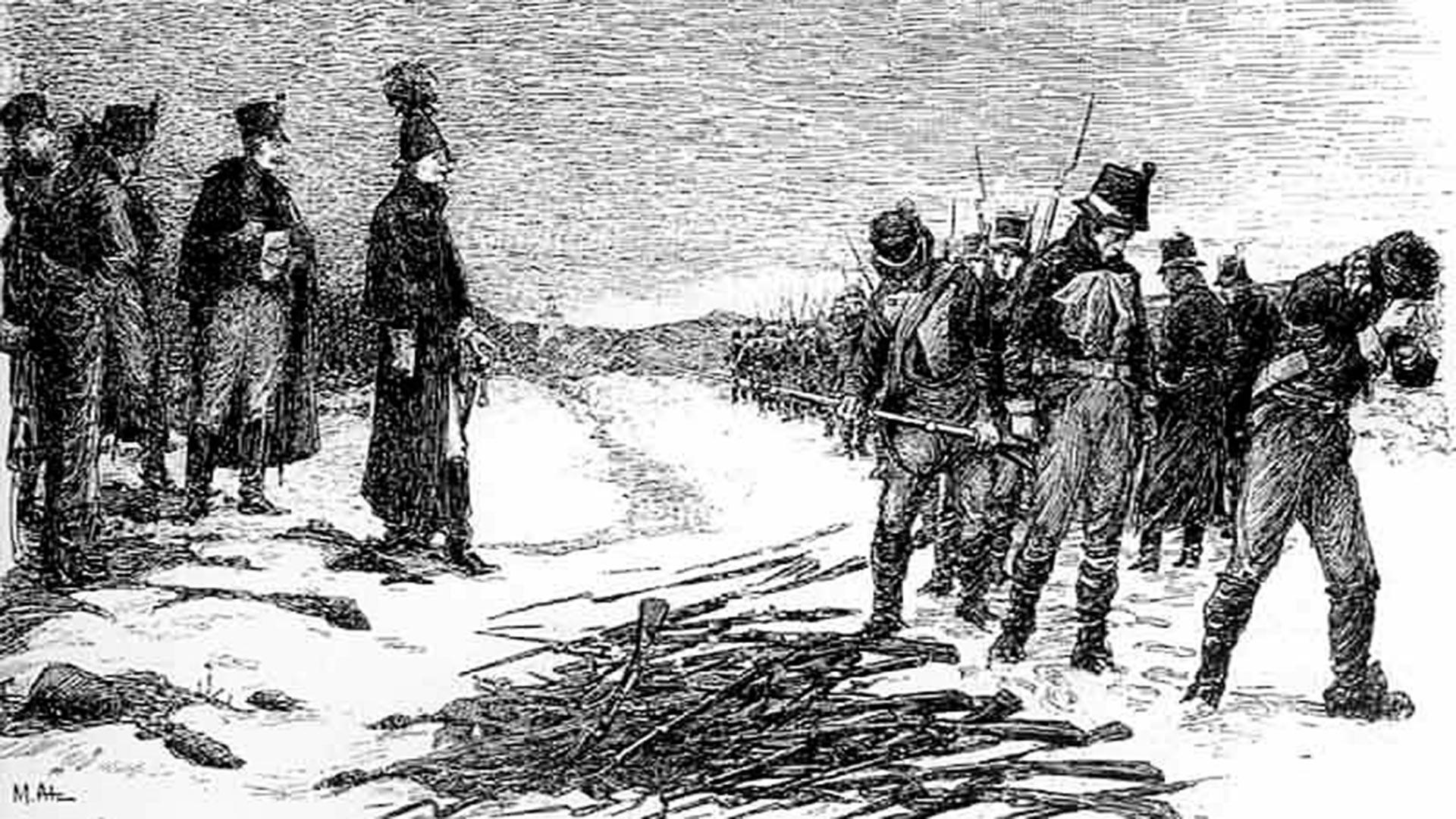 Schweden ergeben sich im Jahr 1808 in Finnland