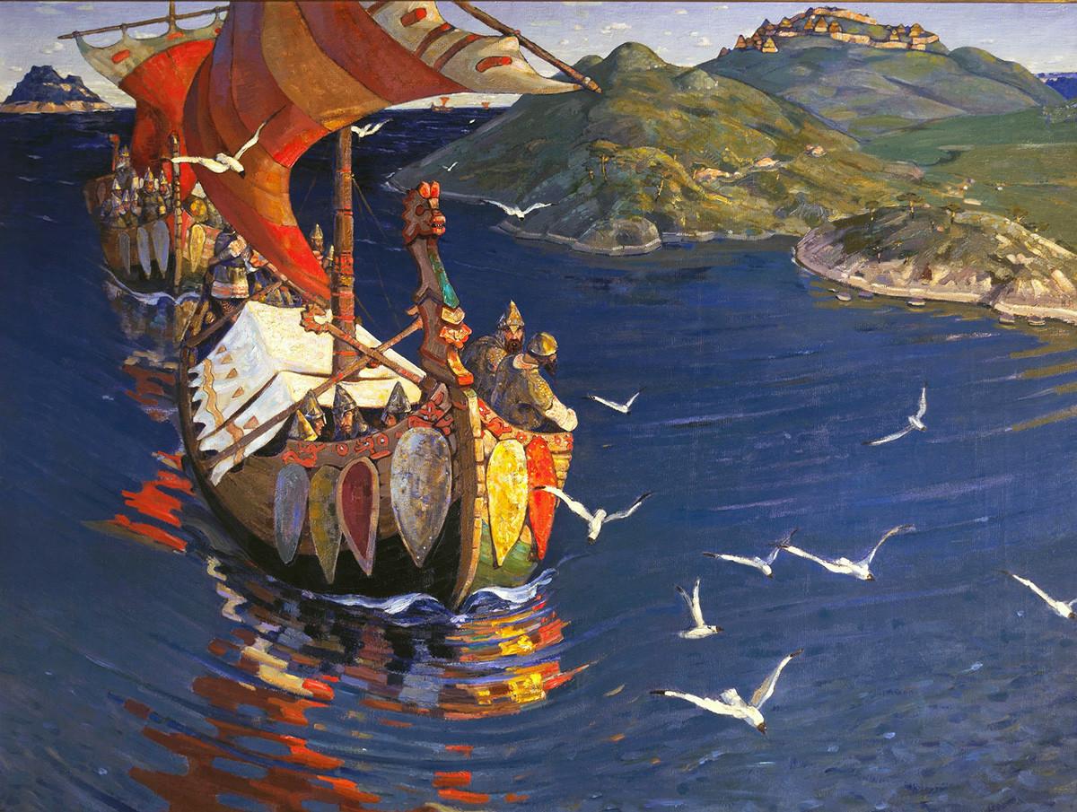 """""""Visitantes de além-mar"""", pintura de Nicholas Roerich."""