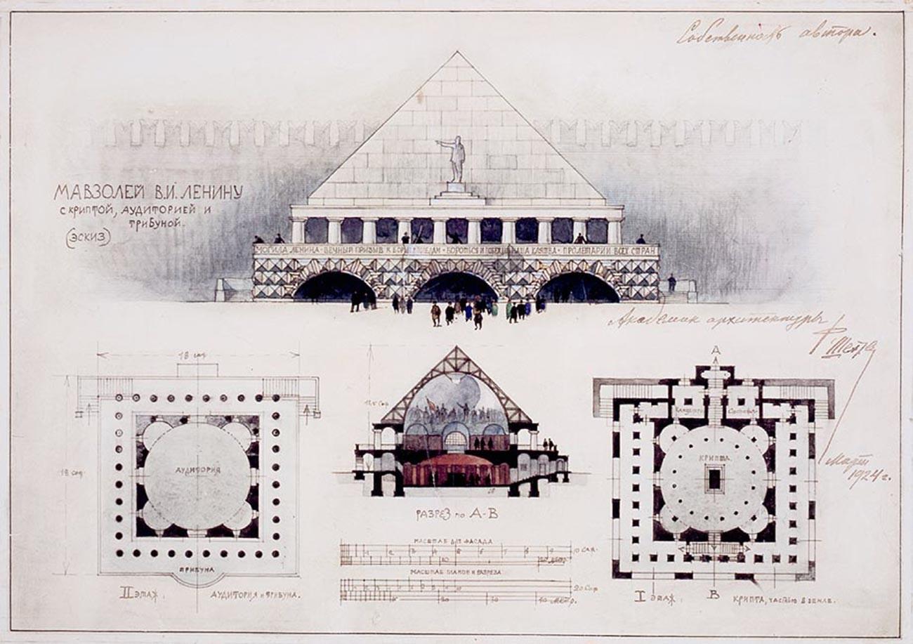 Uno dei progetti del mausoleo, 1924