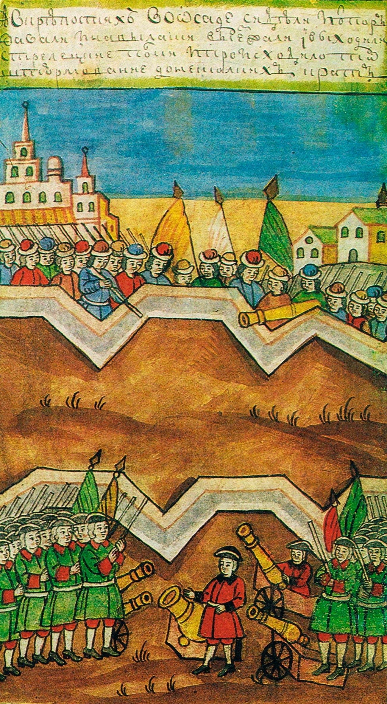 """Минијатура во ракопис од првата половина на 18 век """"Историја на Петар Први"""" на авторот П. Крекшин. Колекција на А. Баратински. ГИМ """"Воена вежба во близина на селата Коломенское и Кожухово"""", """"Потешните"""" полкови се на дното."""