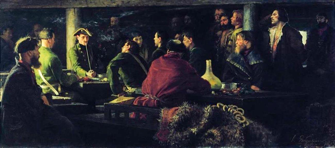"""""""Потешната"""" војска на Петар Први во крчма, 1892 година."""