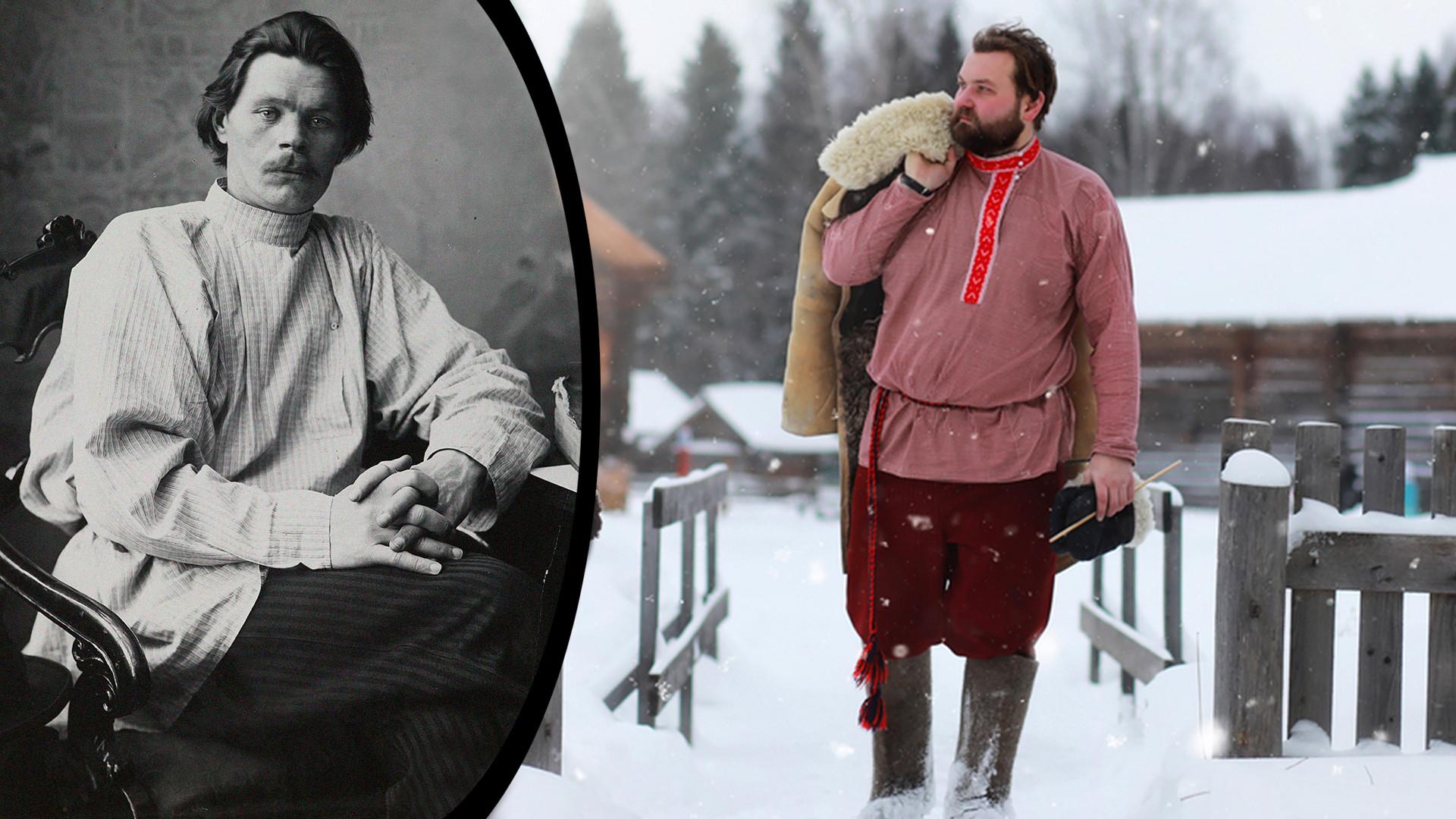 A sinistra, lo scrittore sovietico Maksim Gorkij con una kosovorotka; a destra, una kosovorotka moderna