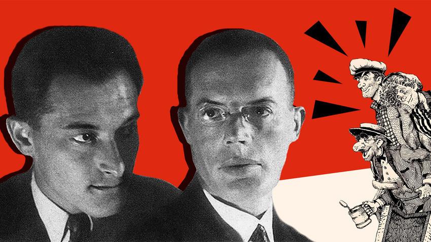 Iliá Ilf (dir.) e Evguêni Petrov (esq.).