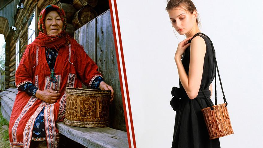 Слева - старинный туесок. Справа - современная женская сумочка.