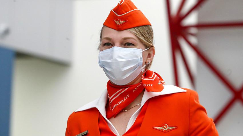 An Aeroflot flight attendant seen at Moscow's Sheremetyevo International Airport.