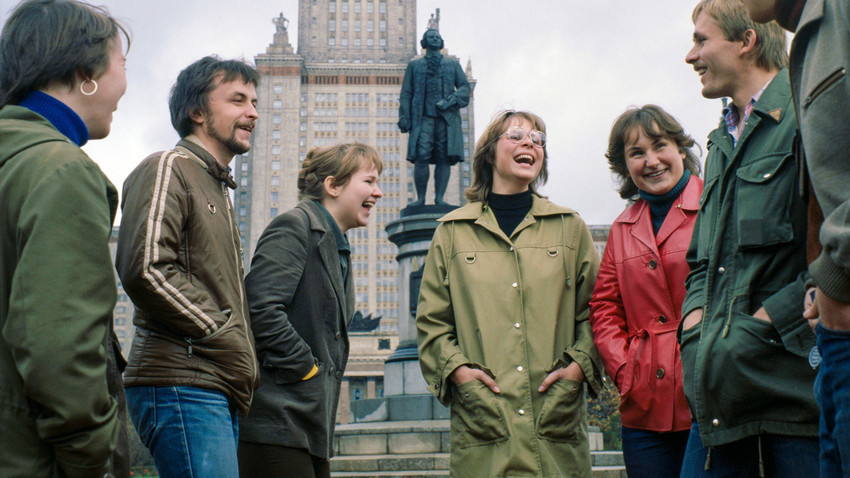Estudantes de intercâmbio da República Democrática Alemã, em Moscou, 1979