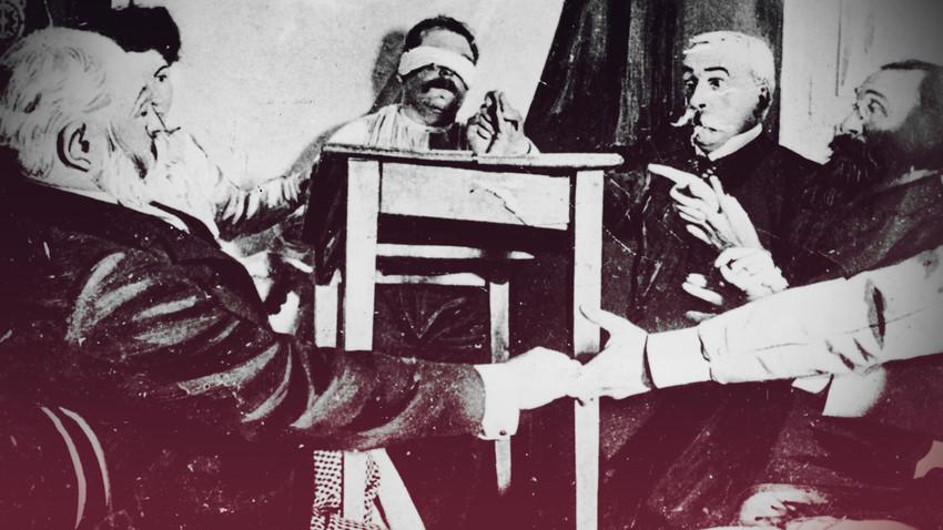 Група хора във Франция провеждат сеанс в опит да установят контакт с мъртвите около 1870 г.