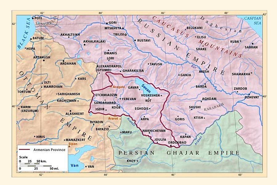 La regione dell'Armenia durante l'Impero russo, esistita fino al 1849