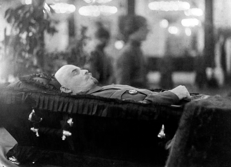 Vladimir Lenin in a coffin during the farewell in Moscow's House of the Unions