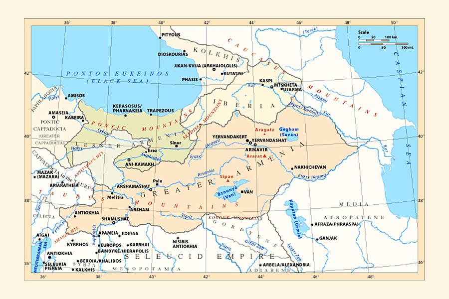 Carte de l'Arménie aux IV-IIe siècles avant JC