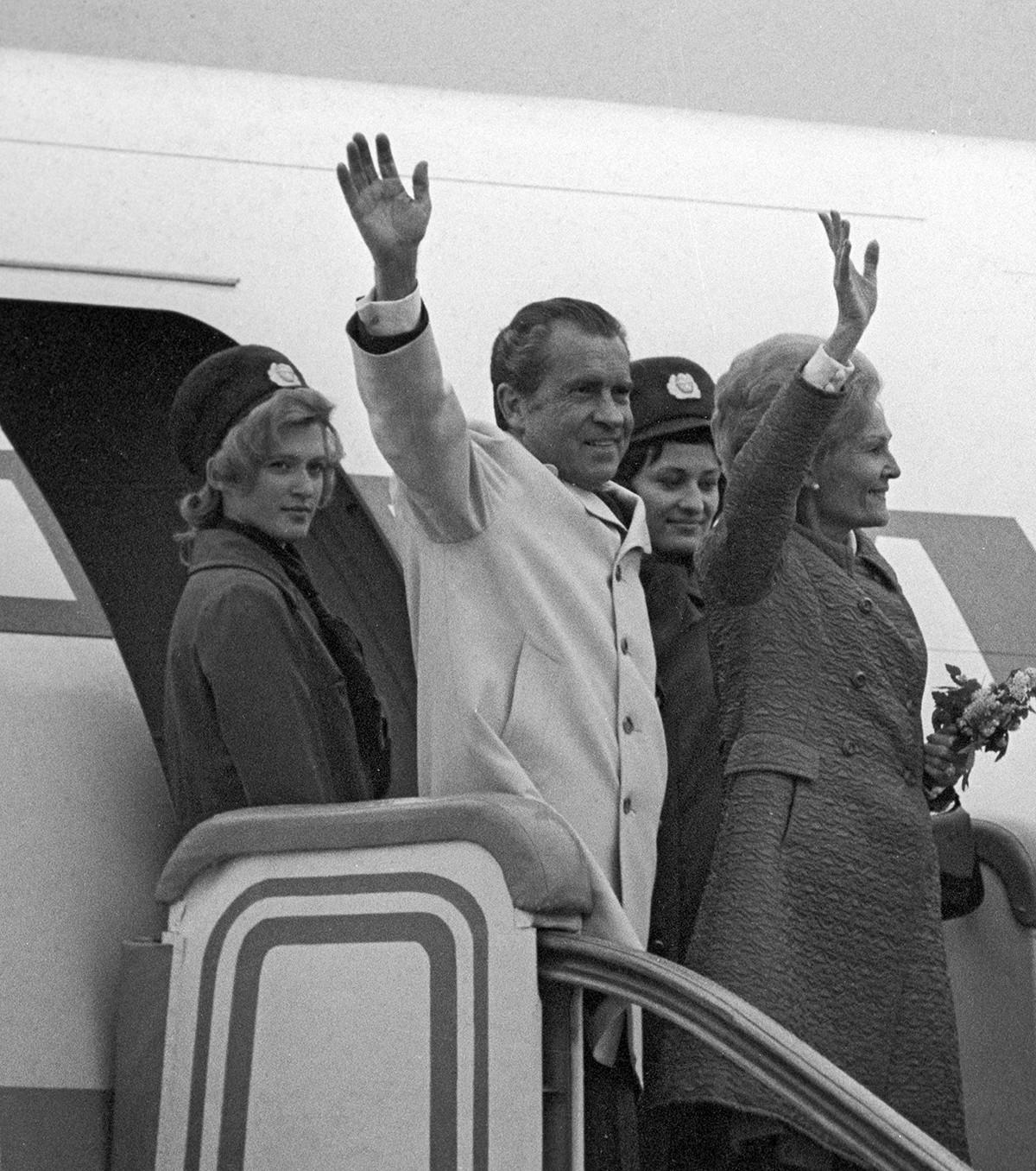 Richard Nixon et son épouse lors d'un visite en URSS