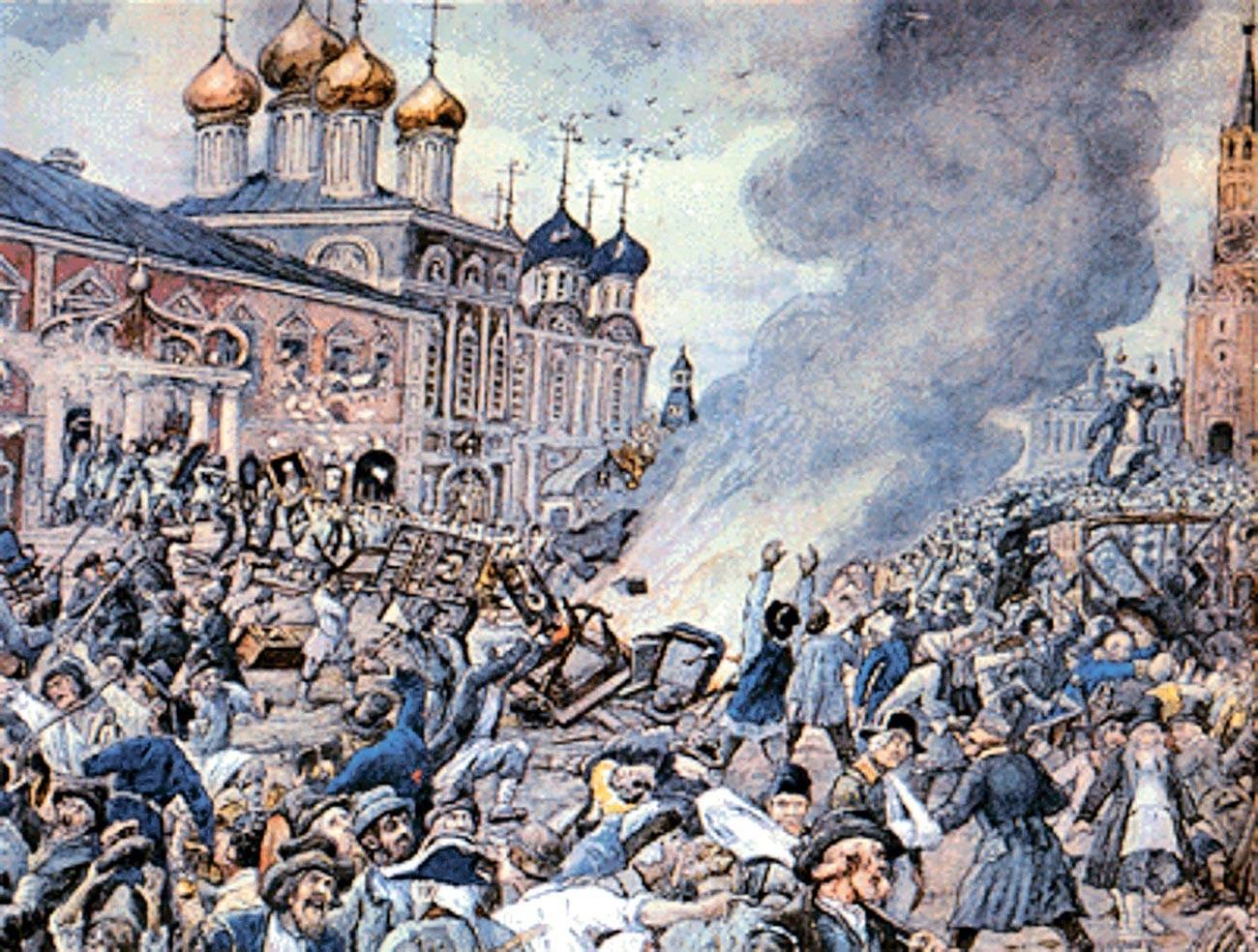 Tumulto em Moscou em 1771, aquarela dos anos 1930