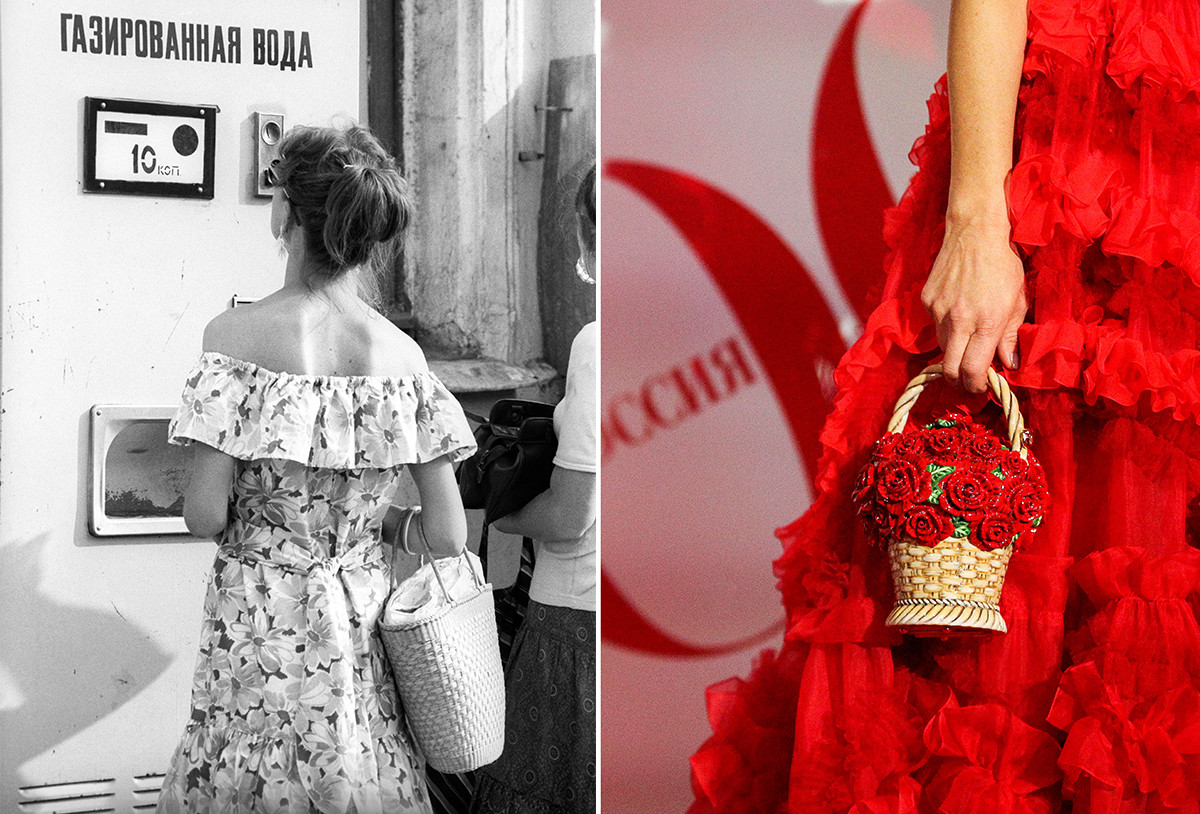 A Soviet lady with a wicker bag vs. A Russian fashion lady with a wicker bag.